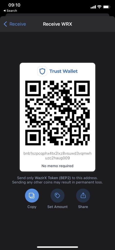 Trust Wallet Deposit Page